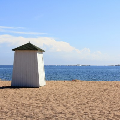 Beach Hut Facing the Blue Sea